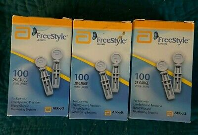 FreeStyle Blood Glucose Sterile Lancets ~ 2 boxes - 200 Lancets total ~ 28 Gauge