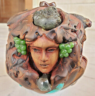 Hand Made Carved Wood Faces & Gems Head Wooden Art