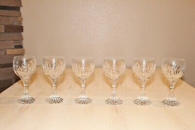 "6 PC Baccarat France Crystal 6 3/8"" Massena Wine Goblet Glasses!"