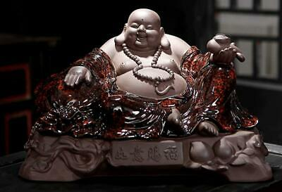 "16"" Chinese Dehua Porcelain Carving Happy Laugh Maitreya Buddha Hold Ruyi Statue"
