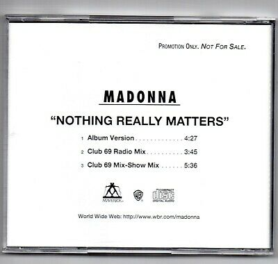 madonna - Nothing Really Matters- USA 1998 3 Track Promo CD PRO-CD-9630