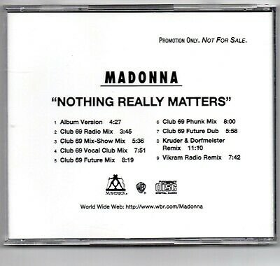 Madonna - Nothing Really Matters – USA 1999 9 Track Promo PRO-CD-9647-R