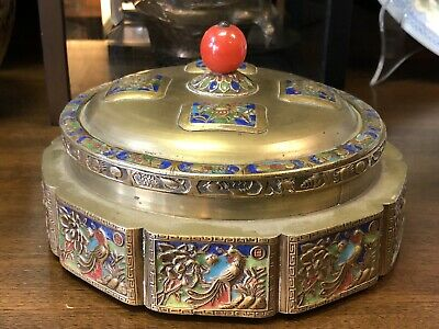 Antique Chinese Porcelain Champleve Brass Octagon Shaped Trinket Dish
