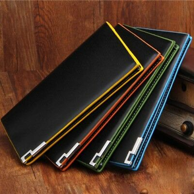 Fashion Mens Leather Bifold Wallet Purse ID Credit Card Holder Long Clutch Clip