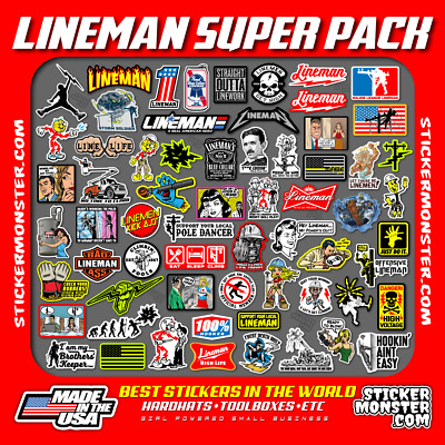 LINEMAN (64) Hard Hat Stickers HardHat Sticker, Linemen, Electrician, Reddy IBEW