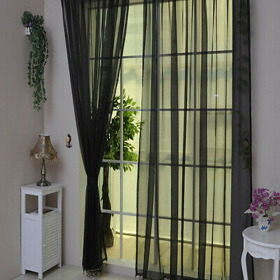 Pure Color Tulle Home Door Window Curtain Drape Panel Sheer Scarf Valances LJ