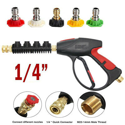 "High Pressure Washer Gun 5 Nozzles Tips Car Wash M22 14mm 1/4"" Quick Connect 1x"