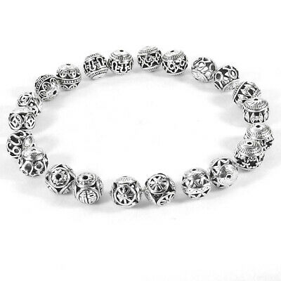 14mm Round Tibetan Silver Metal Spacer Beads Hollow Pattern Charms Jewelry DIY