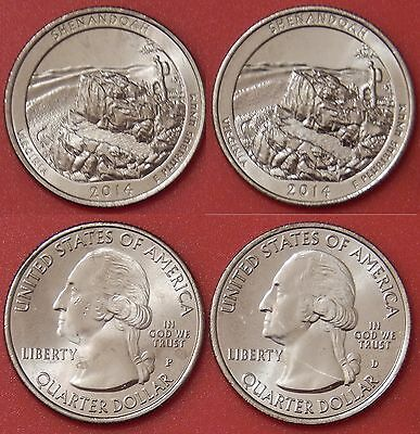 Brilliant Uncirculated 2014 P & D US Shenandoah 25 Cents From Mint's Rolls