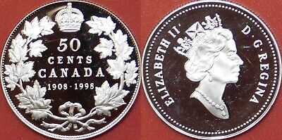Proof 1908-1998 Canada Silver 50 Cents From Mint's Set