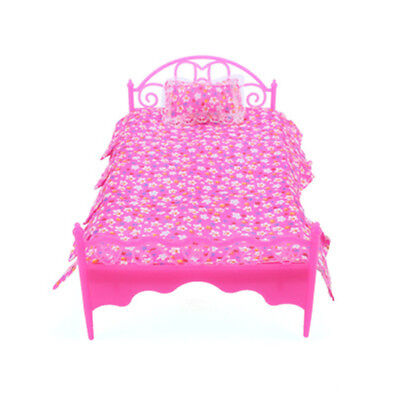 Mini Bed Bedroom Dollhouse Furniture For Barbie Dolls Toys Accessories