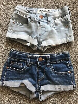 Girls 2x Denim Summer Shorts Age 3-4 Years From Primark