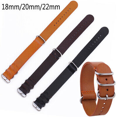 1PC Mens Genuine Leather Army Military Buckle Watch Strap Band 18mm 20mm 22mm