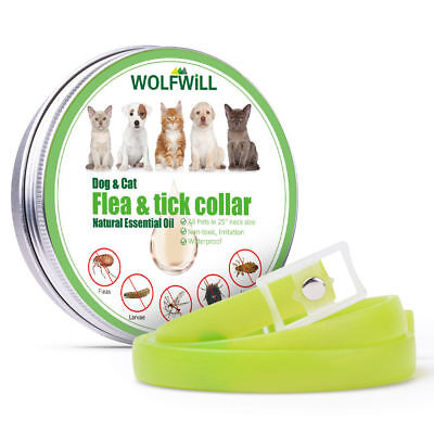 Waterproof 25'' Natural Oil Flea & Tick Collar Repeller For Dogs 6 Month Protect