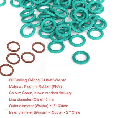 Ø5mm (OD=15~60) High Temp FKM Fluorine Rubber O-Ring Gasket Oil Sealing Washer