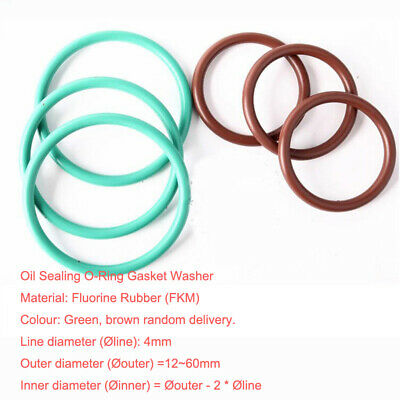 Ø4mm (OD=12~60) High Temp FKM Fluorine Rubber O-Ring Gasket Oil Sealing Washer