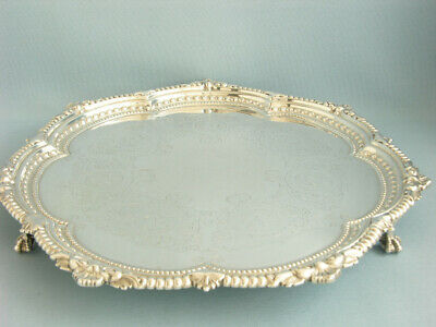 Viktorianisches Rundes Tablett  Sheffield 1898, Sterlingsilber, Salver