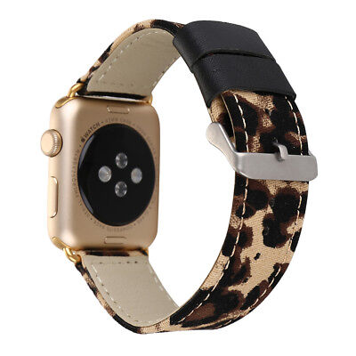 Leopard Print Leather Wrist Band Strap for Apple Watch 4 3 2 1 42/44mm 38/40MM