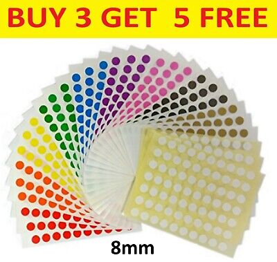 8mm Coloured Dot Stickers Round Sticky Dots Adhesive Circles Labels