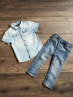 1eb33e5db89b Baby Boys Denim Outfit 18-24 Months Shirt And Skinny Jeans Primark Matalan  Vgc