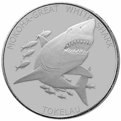 Tokelau 5 Dollars Requin Blanc Shark White 2015 Once Argent 999 Silver OZ