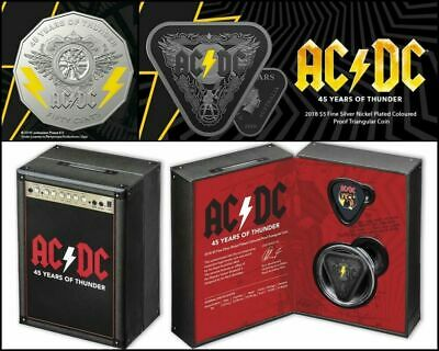 2018 AC/DC - 50 Cent Coin UNC & $5 Silver Nickel Plated Proof Coin Australia