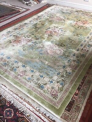 Kashmir Aubusson Silk carpet/rug Hand Knotted 280x185