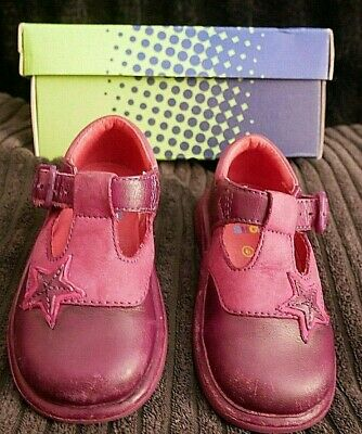 Baby Infant Girls Clarks Plum Star Leather Shoes Flats Uk Size 4.5 F 4.1/2 Boxed