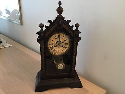 Spares/Repair Early  Wood Chiming Mantel Clock, Pendulum Case Hands Fair Conditi