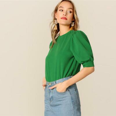 88bd403b8e SHEIN LADIES CASUAL Green Puff Sleeve Keyhole Back Solid Top And ...