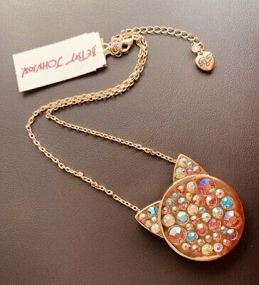0774dd4f7 Betsey Johnson Just Kitten Around Multicolor Pave Cat Pendant Necklace NWT