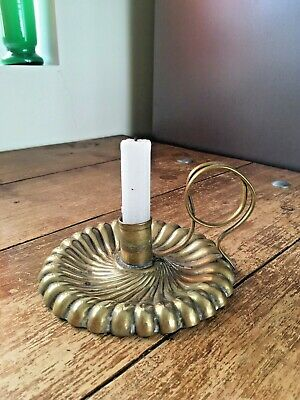 Gorgeous Arts & Crafts Js & S Sb Joseph Sankey & Sons Brass Chamber Candle Stick