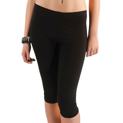 2er Pack Damen Leggings Knie Lang Stretch Jersey aus Baumwollstretch 1466