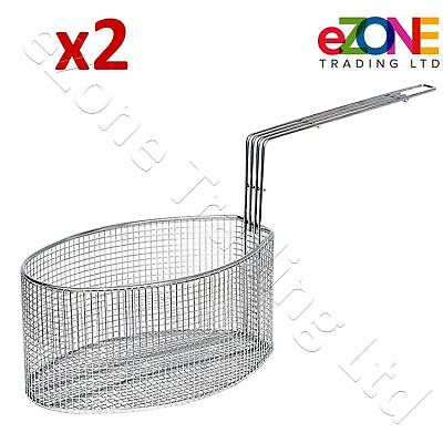 2x Oval Shape Frying Basket Suitable for VALENTINE PENSION P1 P2 Electric Fryers