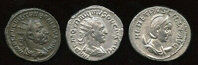 Lot of 3 - Mid 3rd Century Emperors. AR Antoninianus.