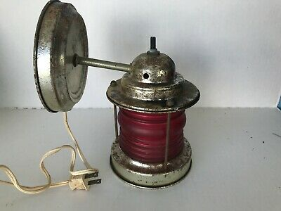 Antique Brass colored Nautical Wall Light Fixture Jelly Jar Shade Vintage