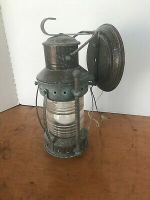 Antique Brass Nautical Wall Light Fixture Jelly Jar Shade Vintage
