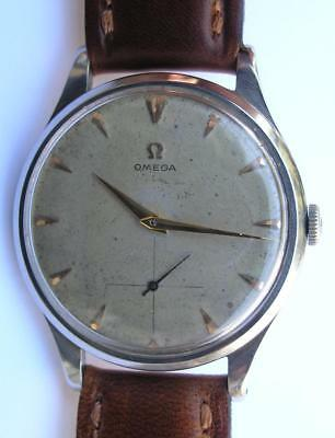 LARGE SIZE d=37.5mm. VINTAGE OMEGA STAINLESS STEEL MENS WRIST WATCH SWISS 1953