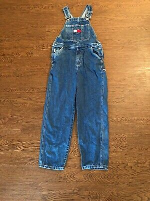 3c1842f3 VINTAGE TOMMY HILFIGER Overalls Medium Blue Big Flag Spell Out 90s ...