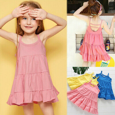 Summer Toddler Kids Baby Girls Sleeveless Vest Solid Sundress Dresses Clothes