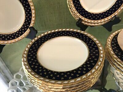 MINTON FOR TIFFANY & CO. COBALT&GOLD ENCRUSTED HORS d'OEUVRE PLATES RARE