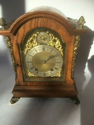 Oak Bracket Clock with Brass Mounts 1/2 Striking W&H