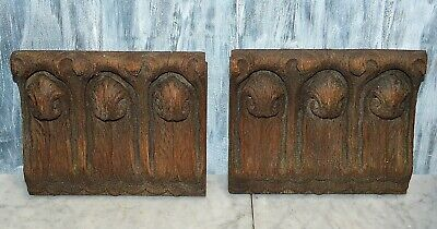 Antique Pair German Black Forest Carved Wood Corbels Brackets Scalloped Edges