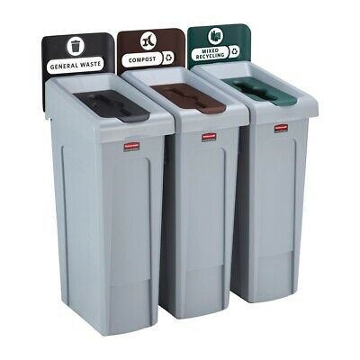Rubbermaid Slim Jim Three Stream Recycling Station 87Ltr [DY080]