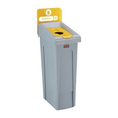 Rubbermaid Slim Jim Plastic Recycling Station Yellow 87Ltr [DY085]