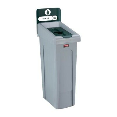 Rubbermaid Slim Jim Glass Recycling Station Green 87Ltr [DY086]