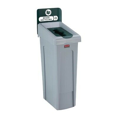 Rubbermaid Slim Jim Mixed Recycling Station Green 87Ltr [DY084]