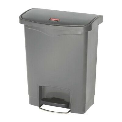 Rubbermaid Slim Jim Step On Front Step Pedal Bin Grey 30Ltr [DY114]