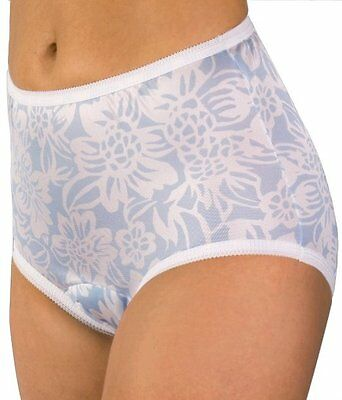 WEAREVER 100% Polyester Blue/White Floral Print Sanitary Brief Plus Size 2XL