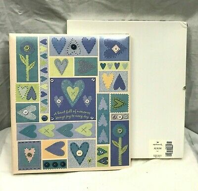 Hallmark Blue Hearts Baby Home Quilted Photo Album 8 Page Pull Sheets NEW